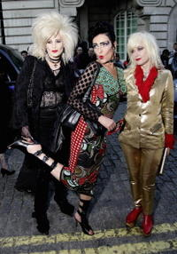 Singer Siouxsie Sioux (centre) and guests at the