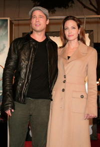 Actors Brad Pitt and Angelina Jolie at the L.A. premiere of