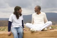 Director Tom Shadyac and Morgan Freeman in