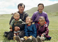 The Bathuluun family, Mongolian nomads, in