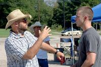 Director Criag Brewer and Justin Timberlake on the set of