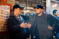 Matt Damon and Leonardo DiCaprio on the set of