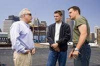 Director Martin Scorsese, Leonardo DiCaprio and Matt Damon on the set of
