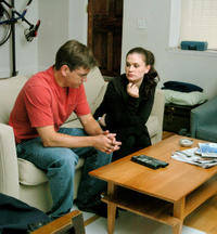 Matt Damon as Mr. Aaron and Anna Paquin as Lisa Cohen in