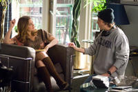 Drew Barrymore and director/writer Marc Lawrence on the set of