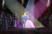 Prince Humperdink (voiced by Patrick Warburton) and Ella (voiced by Sarah Michelle Gellar) in