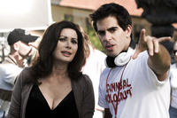 Edwige Fenech and director Eli Roth on the set of