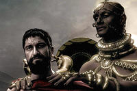 King Xerxes (Rodrigo Santoro) tries to convince King Leonidas (Gerard Butler) to surrender in