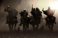 Black Persian battle stallions and their riders emerge from the dusty horizon and thunder down upon the Spartan line in