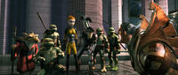 Splinter, Michelangelo, Donatello, April O'Neil, Casey, Raphael, Leonardo and Winters in