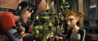 Casey, Donatello, Michelangelo, Leonardo and April O'Neil in