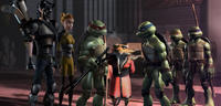 Casey, April, Raphael, Splinter, Leonardo, Michelangelo and Donatello in