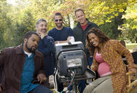 Ice Cube, director Steve Carr, producer Matt Alvarez, producer Todd Garner and Nia Long on the set of