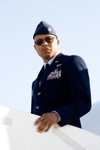 "Terrence Howard as Tony Stark's close friend Rhodey in ""Iron Man."""