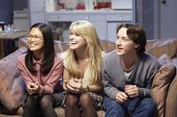 Elaine Tan, Alice Eve and James McAvoy in