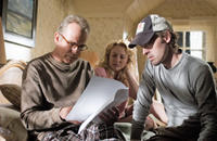 Billy Bob Thornton, Virginia Madsen and director Michael Polish on the set of