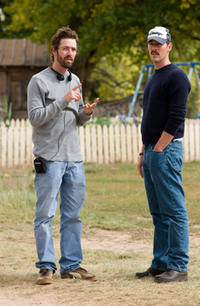 Director Michael Polish and writer Mark Polish on the set of