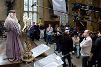 Michael Gambon, and director David Yates on the set of
