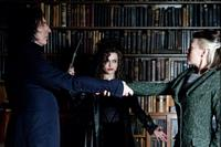 Alan Rickman as Severus Snape, Helena Bonham Carter as Bellatrix Lestrange and Helen Mccrory as Narcissa Malfoy in