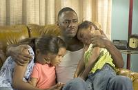 Sierra (Sierra McClain), Lauryn (Lauryn McClain), Monty (Idris Elba) and China (China Anne McClain) in Tyler Perry's