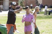 Director Sylvain White with Meagan Good and Columbus Short on the set of