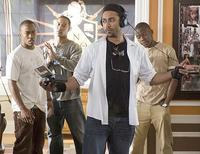Director Sylvain White, Columbus Short and Brian J. White on the set of