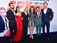 Justin Theroux, Mila Kunis, Kate McKinnon, Susanna Fogel, David Iserson and Sam Heughan