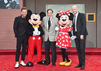 Ewan McGregor, Mickey Mouse, songwriter Richard M. Sherman, Minnie Mouse and director Marc Forster