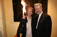 David Lynch and Charlotte Rampling at the opening of the Christian Louboutin/David Lynch cocktail party at the Galerie du Passa.