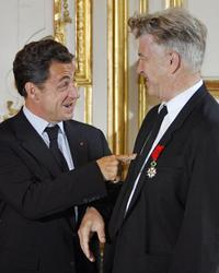 David Lynch and French President Nicolas Sarkozy at the Elysee presidential palace in Paris.
