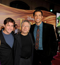 Lyricist Glenn Slater, Alan Menken and Zachary Levi at the California premiere of