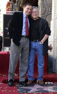Composers Richard Sherman and Alan Menken at the Walk of Fame star ceremony for Alan Menken.
