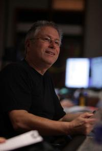 Composer Alan Menken on the set of