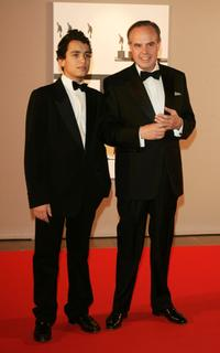 Frederic Mitterrand and his son Jhed at the Nijinsky Awards Ceremony.