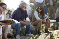 Executive producer George Lucas and Karen Allen on the set of