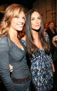 Demi Moore and Hilary Swank at the Miss Sixty Spring 2008 Fashion Show during the Mercedes-Benz Fashion Week Spring 2008.