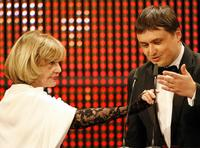 Jeanne Moreau and Cristian Mungiu at the European Film Awards.