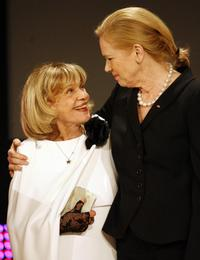 Jeanne Moreau and Liv Ullmann at the European Film Awards.