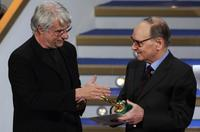 Ennio Morricone at the ceremony of the David di Donatello Italian Film Awards.