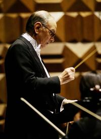 Ennio Morricone at the orchestra for the piece of life without drugs.