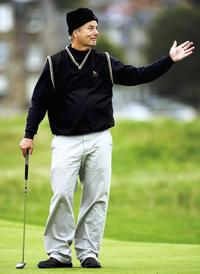 Bill Murray at the practice round on the Old Course.