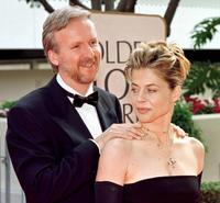 James Cameron and actress Linda Hamilton at the 55th Annual Golden Globe Awards.