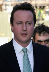 David Cameron at the Christ Church Kensington for the wedding of Alan Parker and Jane Hardman.