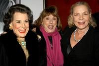 Kitty Carlisle Hart, Phyllis Newman and Lauren Bacall at the after party of the opening night of the Broadway musical Wonderful Town.
