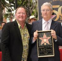 John Lasseter and Randy Newman at the Hollywood Walk of Fame star ceremony.
