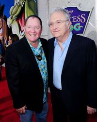 John Lasseter and Randy Newman at the premiere of