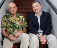 James Ellroy and Jack O'Connell at the Portrait Session at the Book Soup.