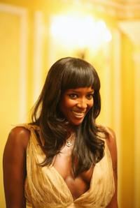 Naomi Campbell at an honourary dinner at the Dorchester Hotel.