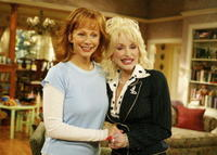 Reba McEntire and Dolly Parton at the 20th Century Fox Studios.