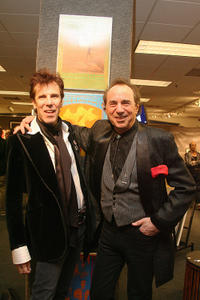 Slim Jim Phantom and owner of the collection Rock & Roll Art Peter Golding at the Bonhams and Butterfields' office in California.